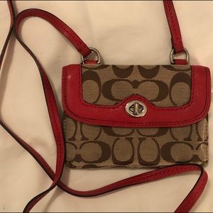 COACH NEW Crossbody in Sig. Canvas & Red Leather